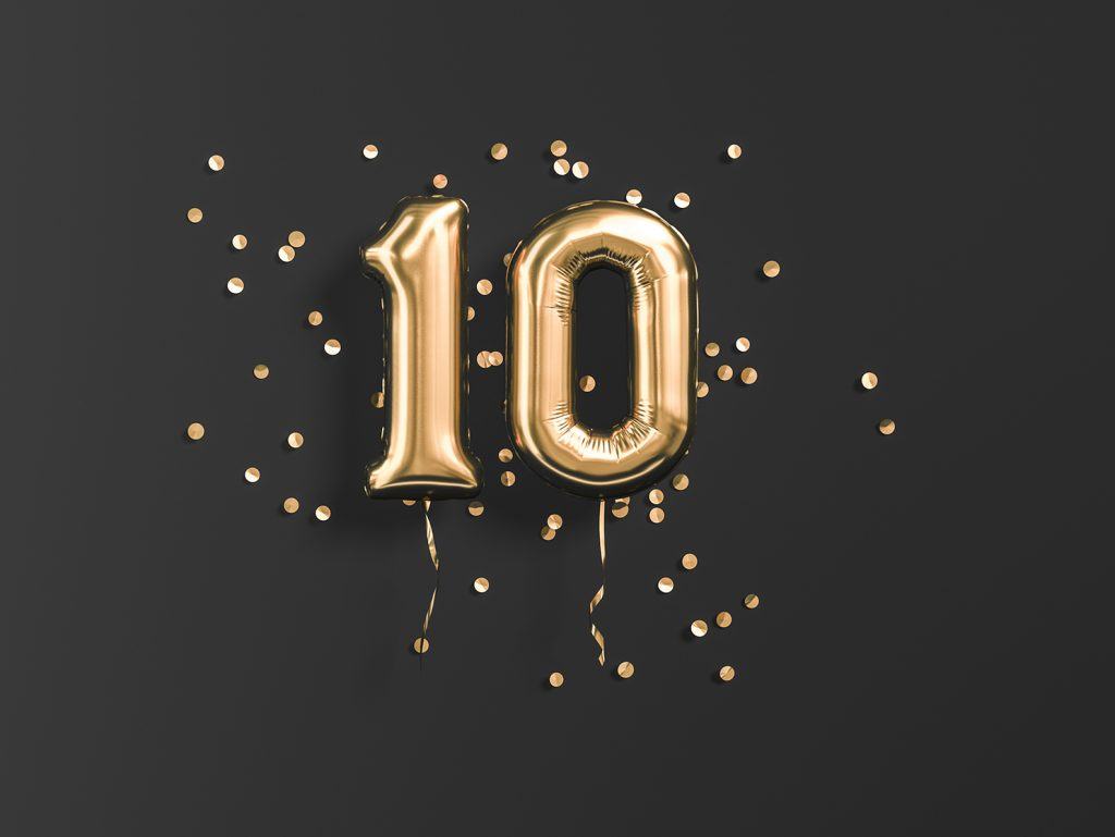 10 Jahre Jubiläumsluftballons